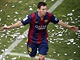 MESSIHO OSLAVA. Hv�zdn� �to�n�k Barcelony Lionel Messi se raduje z g�lu, kter�...