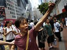 Protestující v Hongkongu (1. října 2014).