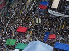 Protesty v Hongkongu (1. října 2014).