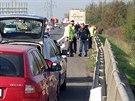 Kamion na D5 u Prahy srazil silničáře, ten zraněním na místě podlehl (6.10.2014)