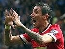 GÓL! Angel Di Maria, fotbalista Manchesteru United, slaví gól v utkání anglické...
