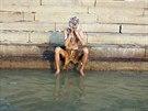 Místní se myjí v Ganze každý den.