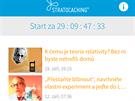 Aplikace Stratocaching - úvodní obrazovka aplikace, kde se zobrazují aktuální...