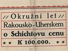 Plakát zvoucí na Schichtův let, který se oficiálně jmenoval Okružní let...