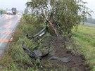Mezi obcemi Vracov a Vlkoš na Hodonínsku dostal zdrogovaný šofér smyk na mokré...