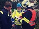 V Mírově na Šumpersku bagrista prorazil plynové potrubí. Hasiči museli...