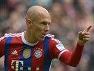 JE TO TAM! Arjen Robben, fotbalista Bayernu Mnichov, se raduje z gólu, který...
