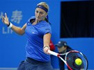 FORHEND. Petra Kvitová ve finále turnaje v Pekingu.