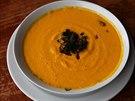 Španělské gazpacho připravené v raw foodové restauraci. Tato je z dýně a mrkve,...