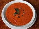 Španělské gazpacho připravené v raw foodové restauraci jen z rajčat.