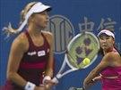 Pcheng Šuaj a Andrea Hlaváčková na turnaji v Pekingu
