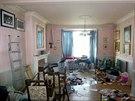 Obývací pokoj v době prodeje a po úklidu.