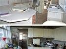 Na snímku je kuchyňská linka v době prodeje a po úklidu.