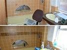 V koupelně se válely ubrousky, gumové rukavice, čistící prostředky. Špína ale majitele neodradila. Nahoře je koupelna po úklidu.