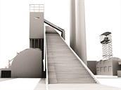 """Dominantní prvek návrhu proměny koksovny, """"schody do nebe""""."""