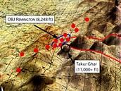 Oblast, ve které probíhala operace Anakonda s vyznačenými oblastmi výskytu sil...