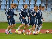 Fotbalisté Slovanu Bratislava na tréninku.