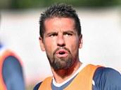 Milan Baroš na tréninku Baníku Ostrava.