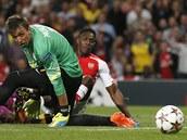ZÁSAH. Danny Welbeck z Arsenalu (vzadu) dává gól brankáři Muslerovi z