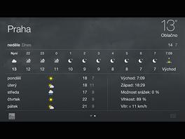 iPhone 6 Plus - zobrazení aplikace Počasí na šířku.
