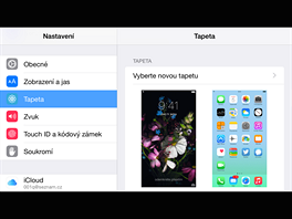 iPhone 6 Plus - zobrazen� menu Nastaven� na ���ku.