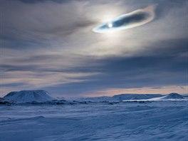 Zamrzlé jezero Mývatn na Islandu. Nehostinnou krajinu, kterou brázdí Mance...