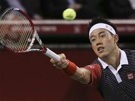 Kei Nišikori ve finále turnaje v Tokiu.