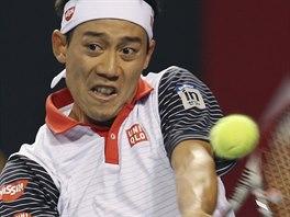 Japonsk� tenista Kei Ni�ikori v semifin�le turnaje v Tokiu.