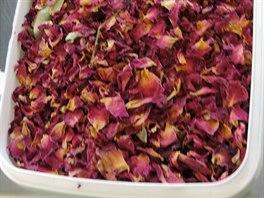 Sušené okvětní plátky rudých růží se musí pečlivě odvážit dle předem dané repeptury, aby výsledný sprchový gel voněl vždy stejně.