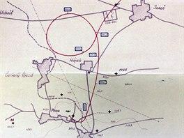 Trasa letu OK-351, který havaroval u Ptic na Kladensku