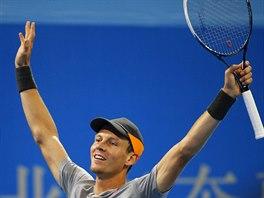 M�M GAME! Tom� Berdych slav� zisk gamu, proti Novaku Djokovi�ovi se v Pekingu...