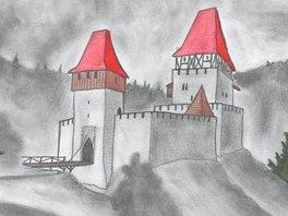 Kresebná rekonstrukce možné podoby hrádku Čejchanov.