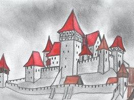 Kresebná rekonstrukce možné podoby hradu Stará Dubá.