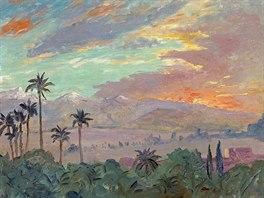 Churchillův obraz Západ slunce šel do dražby v roce 2008.