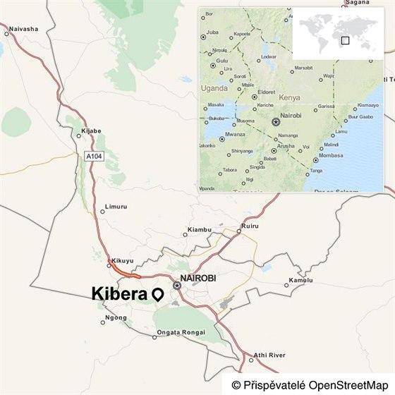 Slum Kibera v keňském Nairobi
