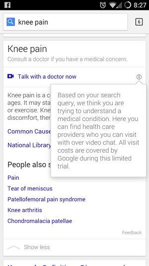 Google nabízí uživatelům možnost spojit se s doktorem prostřednictvím...