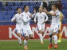 Čeští fotbalisté se radují z další výhry. Tentokrát uspěli v Kazachstánu.