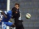 GÓL! Dzon Delrarge (druhý zprava), fotbalistu Liberce, střílí první gól svého...