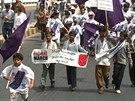 Globálního pochodu se zúčastnily děti, které indický aktivista vysvobodil z...