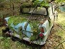 Ford Anglia z roku 1967 vypadá téměř nepoškozeně, zůstaly mu například všechna...