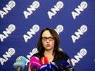 Adriana Krnáčová při tiskové konferenci ve volebním štábu hnutí ANO v Praze....
