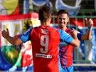 JE TAM. Stanislav Tecl a Milan Petržela se radují z gólu Plzně.