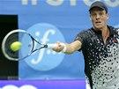 FORHEND. Tomáš Berdych ve finále turnaje ve Stockholmu.
