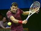 CITLIVĚ. Grigor Dimitrov ve finále turnaje ve Stockholmu.