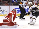 Bostonský útočník David Krejčí v úspěšném nájezdu na gólmana Jimmyho Howarda z...