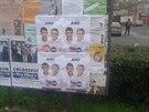 Volebn� plak�ty Anton�na Pracha�e p�ekryly protikandid�tku Jitku Seitlovou.