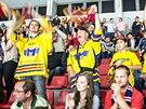 Českobudějovičtí hokejoví fanoušci se radují z výhry.