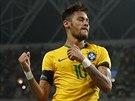Brazilský fotbalista slaví trefu proti Japonsku.