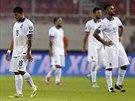 Řečtí fotbalisté jsou zklamaní po severoirském gólu.