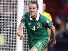 Irský fotbalista John O'Shea (4) slaví svůj gól proti Německu.